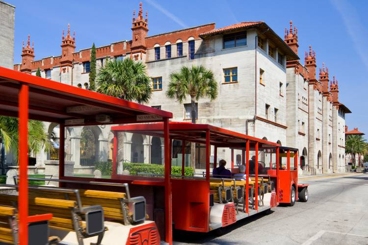 A trolley drives through St. Augustine