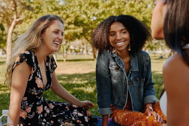 girls in park having a picnic